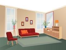 Lliving room interior with furniture: sofa, shelving, table. Living room drawing design. Hand drawing illustration vector illustration