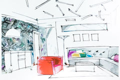Lliving room watercolor drawing Stock Image