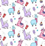 Lllama seamless pattern with cute llamas and doodles. Alpaca design for textile, prints etc. royalty free illustration