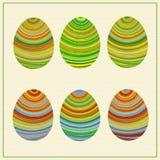 Lllustration śmieszni pasiaści Wschodni jajka ilustracja wektor