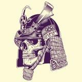 Lllustration πολεμιστών Σαμουράι κρανίων Στοκ Εικόνα