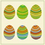 Lllustration of funny striped Eastern eggs. Stock Photos