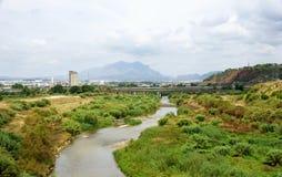 Llobregat river passing through Martorell Royalty Free Stock Images