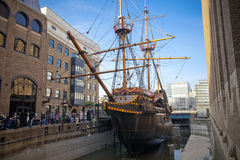 LLONDON, UK - MARCH 29, 2014  Francis Drake s Golden Hind ship Stock Photos