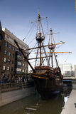 LLONDON, UK - MARCH 29, 2014  Francis Drake s Golden Hind ship Royalty Free Stock Photography