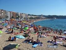 lloret De 3月海滩肋前缘勇敢的西班牙 库存照片