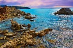 Lloret de Mar beach sunrise in costa Brava Stock Image