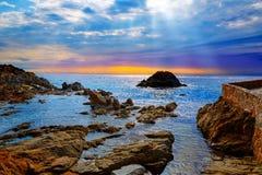 Lloret de Mar beach sunrise in costa Brava Royalty Free Stock Images