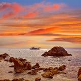 Lloret de Mar beach sunrise in costa Brava Stock Photo