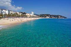 Lloret de Mar Costa Brava spanish tropical sand beach Catalonia Spain Mediterranean sea nature summer travel background journey
