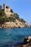 Lloret de Mar Castell på stranden i Catalonia Spanien Royaltyfria Bilder