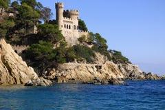 Lloret de Mar Castell Plaja alla spiaggia in Spagna Immagine Stock