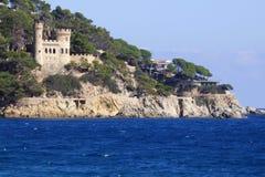 Lloret de Mar Castell Plaja i Catalonia Spanien Royaltyfria Foton