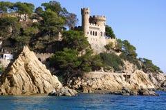 Lloret de Mar Castell Plaja på stranden i Catalonia Arkivfoto