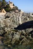 Lloret de Mar Castell Plaja på stranden i Spanien Royaltyfria Bilder