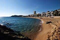 Lloret de Mar Castell Plaja på stranden i Spanien Fotografering för Bildbyråer