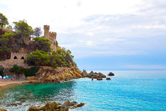 Lloret De Mar Castell Plaja przy Sa Caleta plażą Zdjęcie Royalty Free
