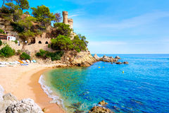 Lloret de Mar Castell Plaja at Sa Caleta beach Royalty Free Stock Images
