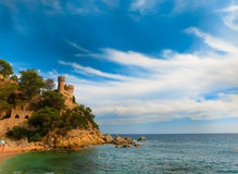 Lloret de Mar Castell Plaja at Sa Caleta beach in Costa Brava Spain Stock Photos