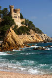 Lloret De Mar Castle. Beautiful Sant Joan Castle on the rocky coast of Costa Brava in Spain royalty free stock photos