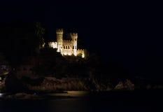 Lloret de mar castle. In night royalty free stock photos
