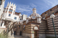 Lloret de Mar,Catalonia,Spain. Architecture, religious building, modernist style, church, rectory, by Bonaventura Conill in Lloret de Mar, Costa Brava, province stock image