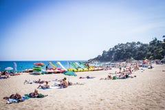 Lloret De Mar, Costa Brava, Hiszpania, plażowy nadmorski Zdjęcie Stock