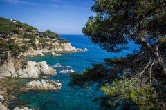 Lloret de Mar, Costa Brava, Hiszpania, playa de la playa fotos de archivo libres de regalías