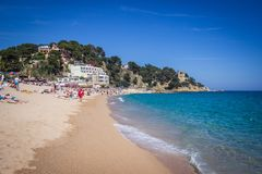 Lloret de Mar, Costa Brava, Hiszpania, playa de la playa fotos de archivo