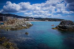 Lloret de Mar, Costa Brava, Hiszpania, strandkust Stock Afbeeldingen