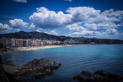 Lloret de Mar Costa Brava, Hiszpania, strandsjösida Royaltyfri Foto