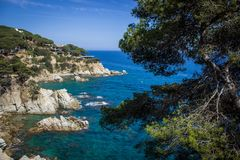 Lloret de Mar Costa Brava, Hiszpania, strandsjösida Royaltyfria Foton