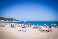 Lloret de Mar Costa Brava, Hiszpania, strandsjösida Arkivfoto