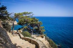 Lloret de Mar, Costa Brava, rotskust Stock Foto's