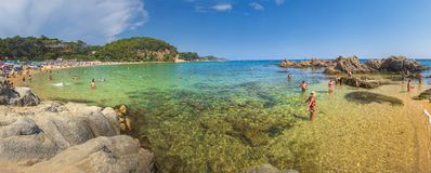 Lloret de Mar, Costa Brava, Spain - august 23, 2018: Panoramic view of Santa Cristina beach, Costa Brava, Spain royalty free stock photo
