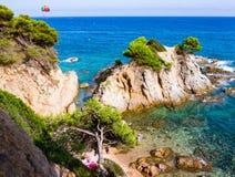 Lloret De Mar kamienia plaża Obraz Stock