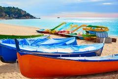 Lloret de Mar Sa Caleta beach in costa Brava of Catalonia Stock Photo