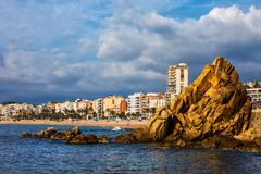Lloret de Mar Sea πόλης ορίζοντας Στοκ Φωτογραφία