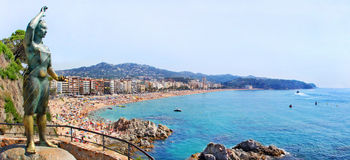 Lloret de Mar with symbol statue Royalty Free Stock Photos