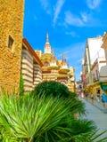 Lloret de mars, Spanien - September 14, 2015: Sikt av härliga kyrkliga Lloret de Mar, Spanien Royaltyfri Fotografi
