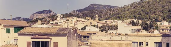Lloseta panoramic. Panoramic  of Lloseta`s Old Town colorful houses in  Mallorca, Spain Stock Image