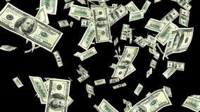Llover cientos billetes de dólar en fondo negro Fotos de archivo