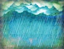 Llover el cielo. Naturaleza de la vendimia stock de ilustración