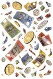 Llover el dinero australiano fotos de archivo