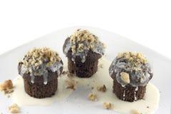 Llovizna del chocolate de Mini Chocolate Cupcakes With White Imagen de archivo