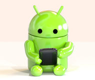 Google Android OS mascot robot using smartphone isolated on white background Stock Photo