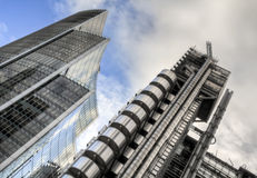 Lloyd's and Willis Building, London. Royalty Free Stock Images