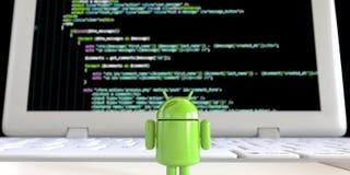 Lloyd von Einfassungs-Bildschirm Android OS-Logos stehendem alleinmit Code stock abbildung
