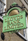 Lloyds Bank Sign in Bury St. Edmunds Royalty Free Stock Photography