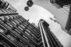 Lloyds Building, London United Kingdom. London, United Kingdom - Dec 30th 2017: View looking upwards at the Lloyd`s Building in London`s Financial District Stock Photos